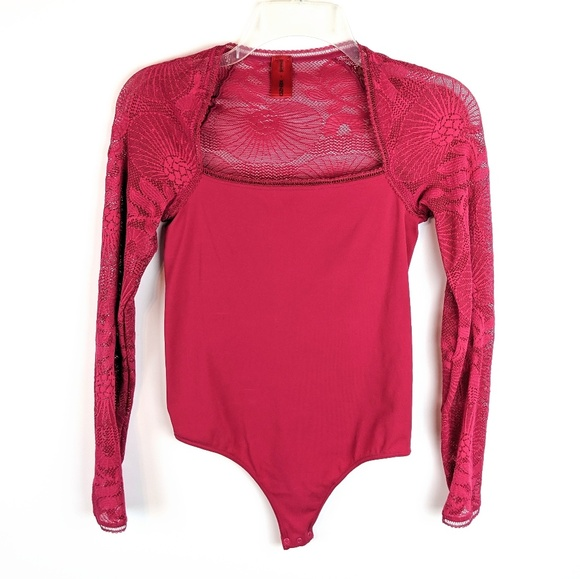 Kenzo Tops - Wolford x Kenzo Berry Lace Detail Thong Bodysuit